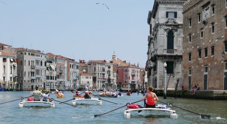 rowing, sculling through Venice with the XCAT - Vogalonga 2017