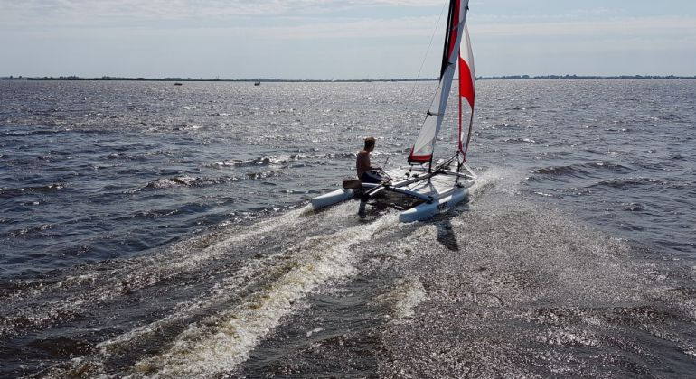 Sailing at the Sneekermeer in the Netherlands