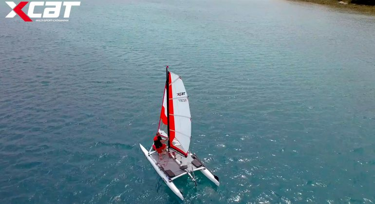 XCAT Sail tacking with headsail