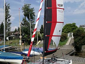xcat sail boat rowing sculling oars launching cradles catamaran