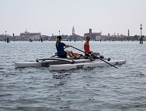 RowVista xcat sculling sculls oars rowing forward front rower