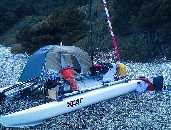 xcat sail catamaran inflatable beach daysailer boat